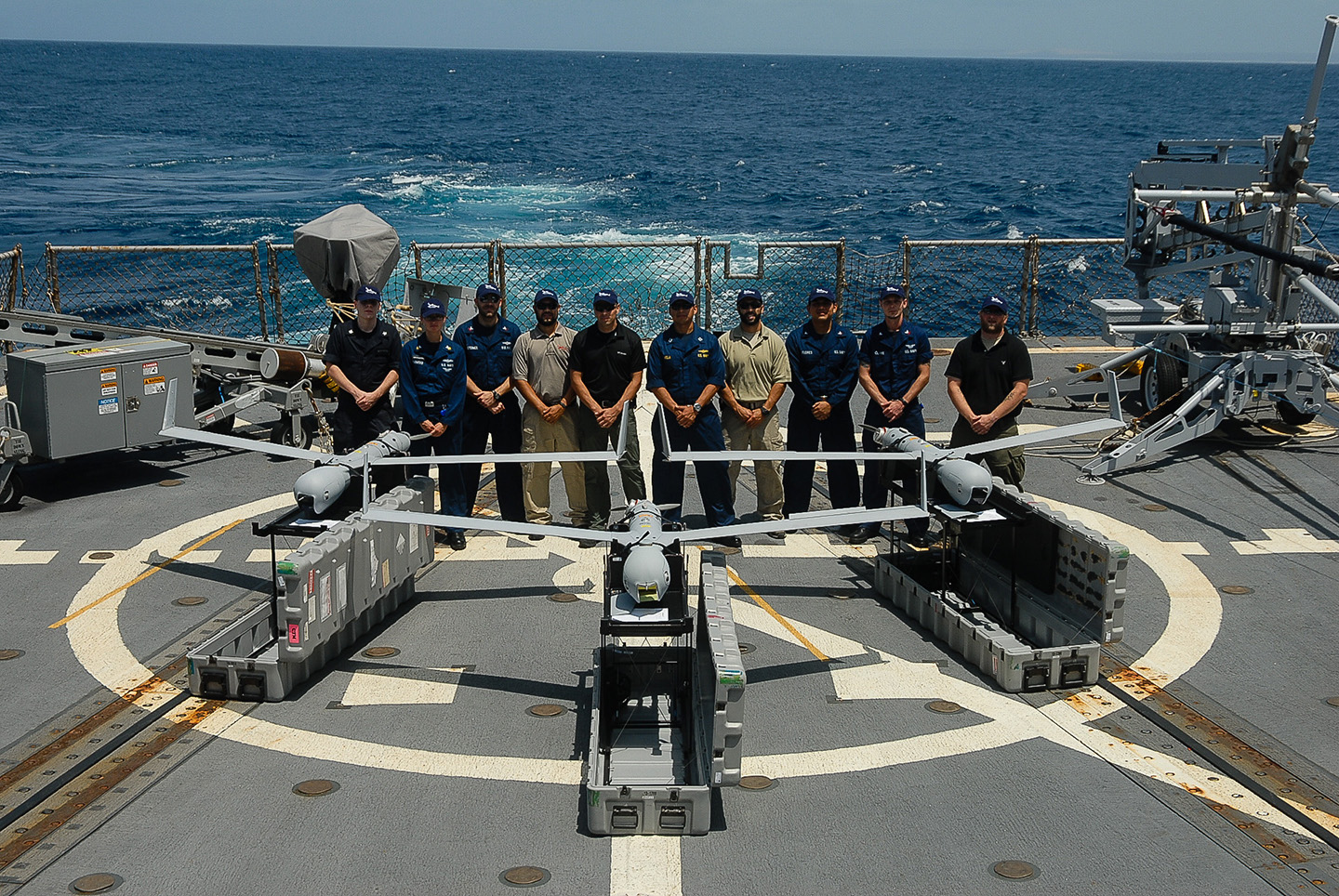 ScanEagle on a ship with crew