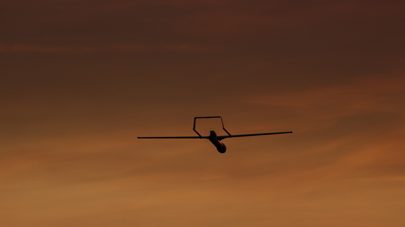 ScanEagle 3 Flying at Sunset