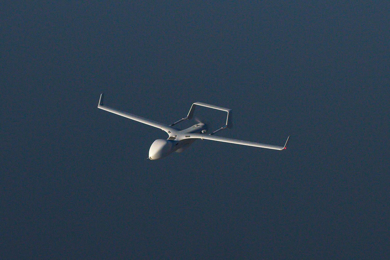 Blackjack Extended Range flying over water.