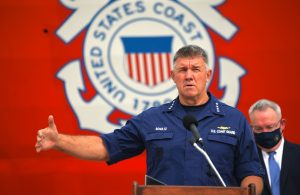 Adm. Karl Schultz, commandant of the U. S. Coast Guard, speaks at a drug offload in San Diego, on Sep. 10. 2020. Coast Guard Photo